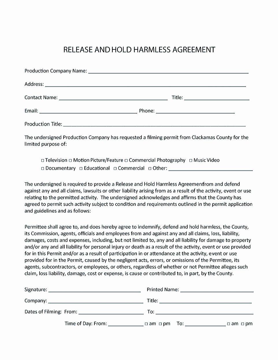 Hold Harmless Agreement Sample Wording Fresh Making Hold Harmless
