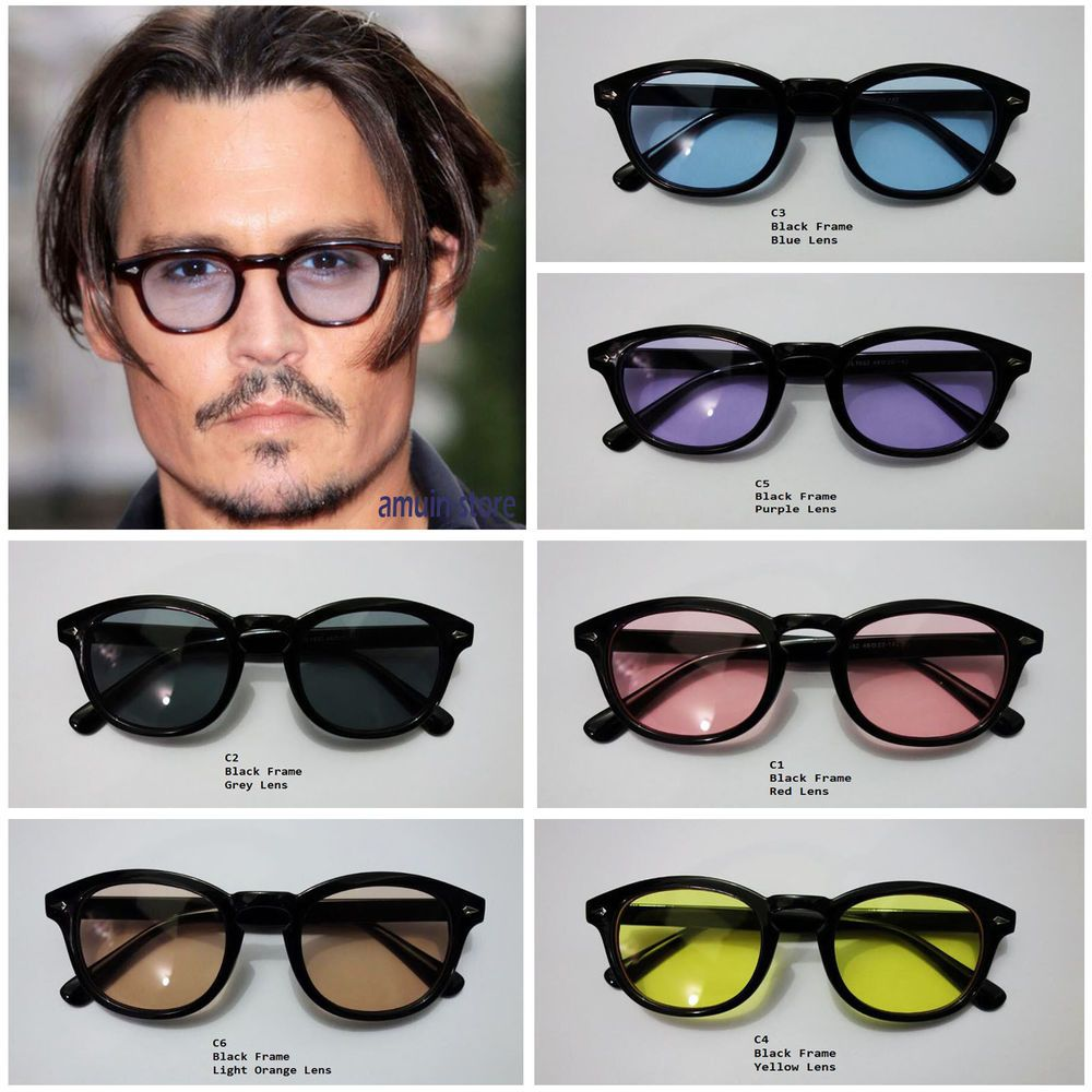 48c96d653b Sunglasses Vintage Johnny Depp Men Frame Retro Clear Fashion Glasses Tinted  Lens  Round