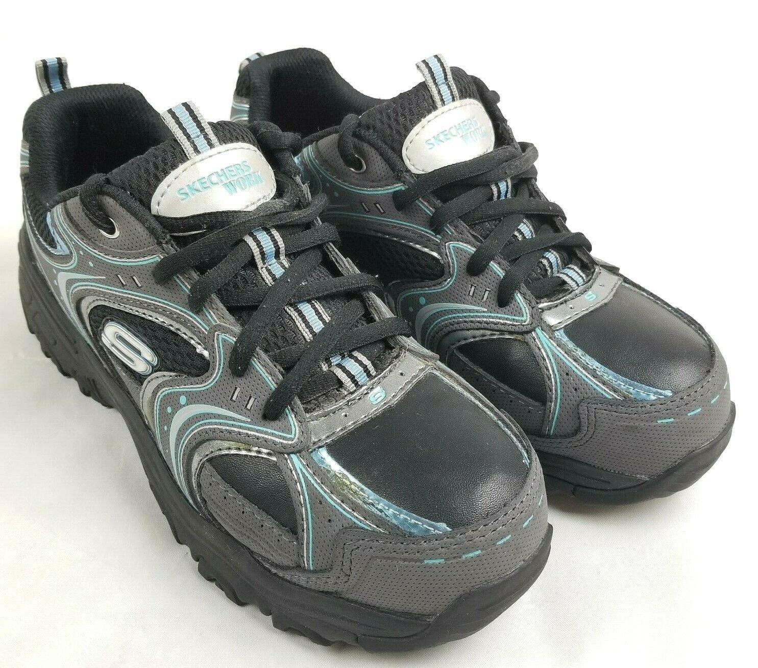 SKECHERS WORK Women Black Gray Shoes