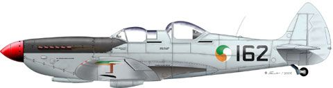 No.162, ex. RAF ML407, this time in latter colour scheme of I.A.C. Spitfires of silver-aluminum dope overall. Black walkways and black anti glare area in front of student's cockpit, Three-colour boss in six positions and black serials on fuselage and under starboard wing only. Currently, No.162 flies in the U.K., in ownership of Carolyn Grace.