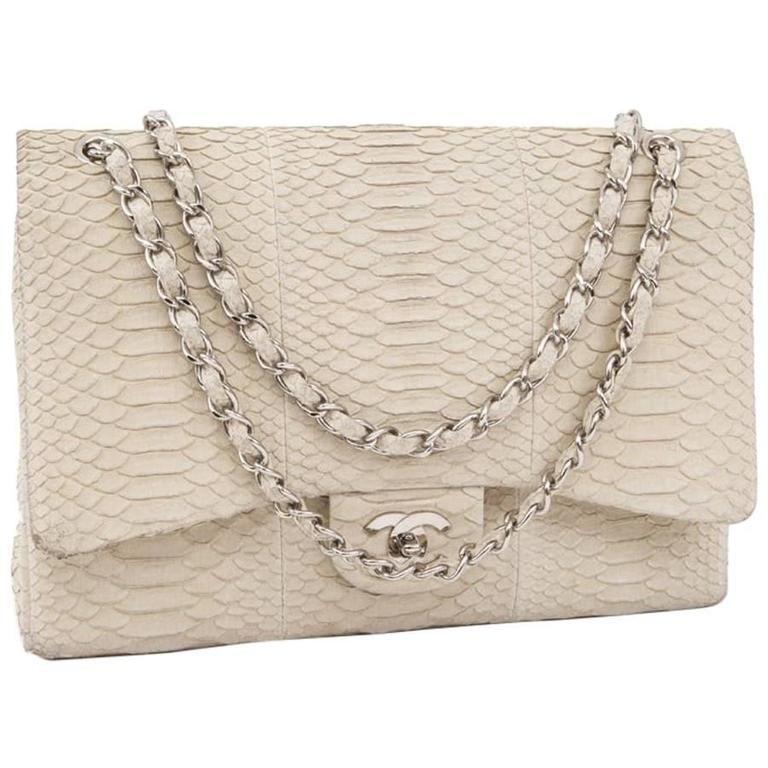 ec9e97591814 CHANEL Maxi Jumbo Double Flap Bag in Ecru Python in 2019   Chanel ...