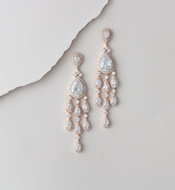Rose Gold Bridal Earrings Bridal Jewelry Long Chandelier Earrings