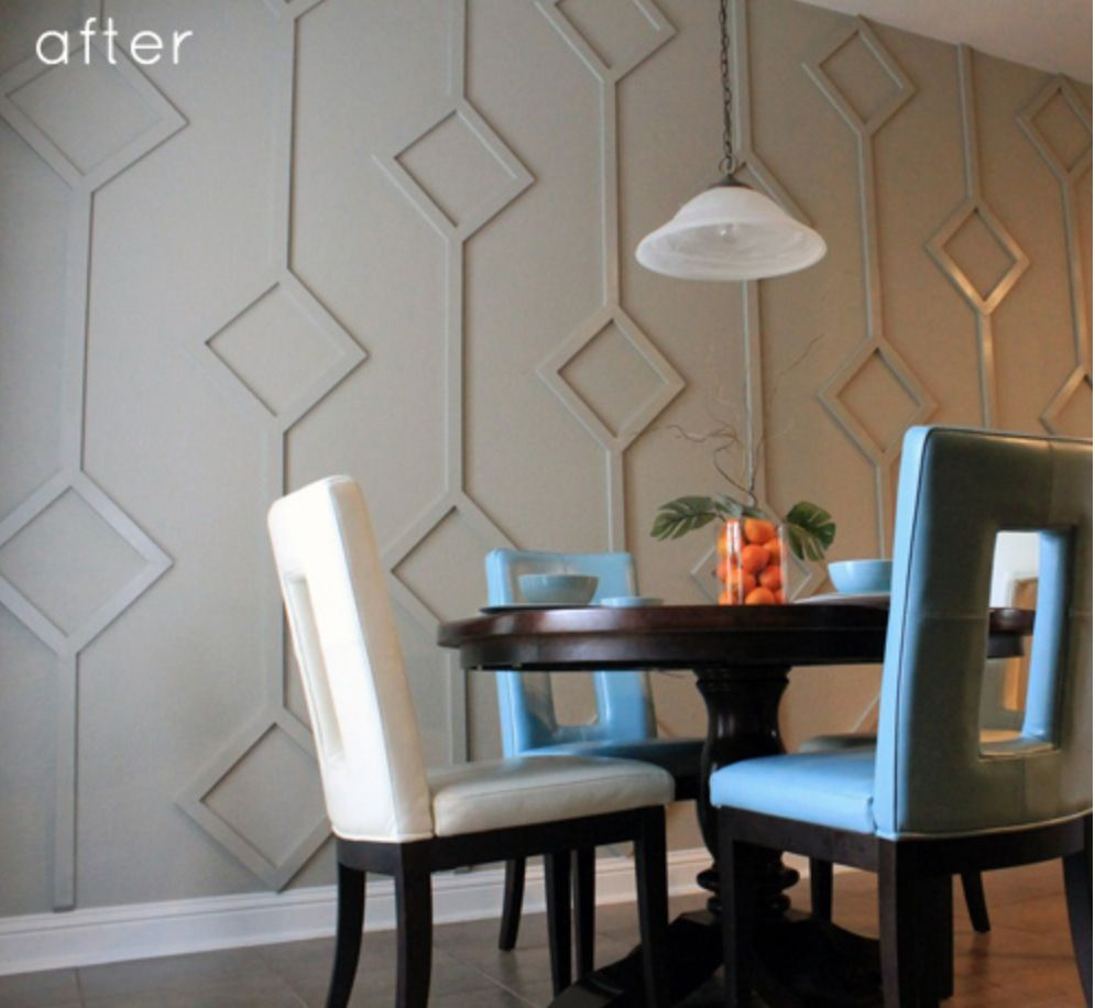 BEFORE  AFTER DINING NOOK DIAMOND WALL DESIGN  Before