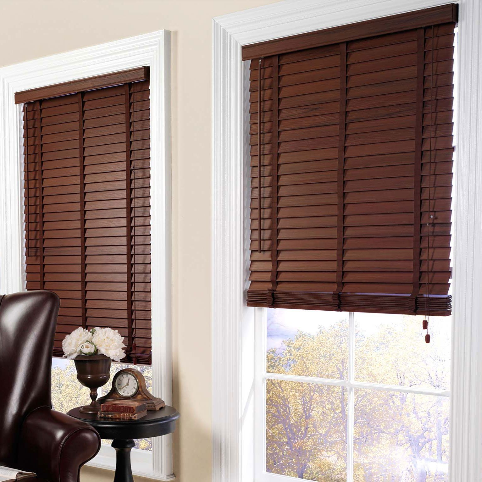 These dark wood blinds have great contrast against the clean white