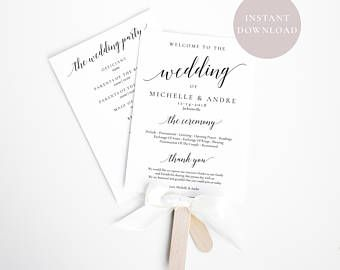 Fan Invitation Template | Wedding Program Fan Wedding Ceremony Program Wedding Program