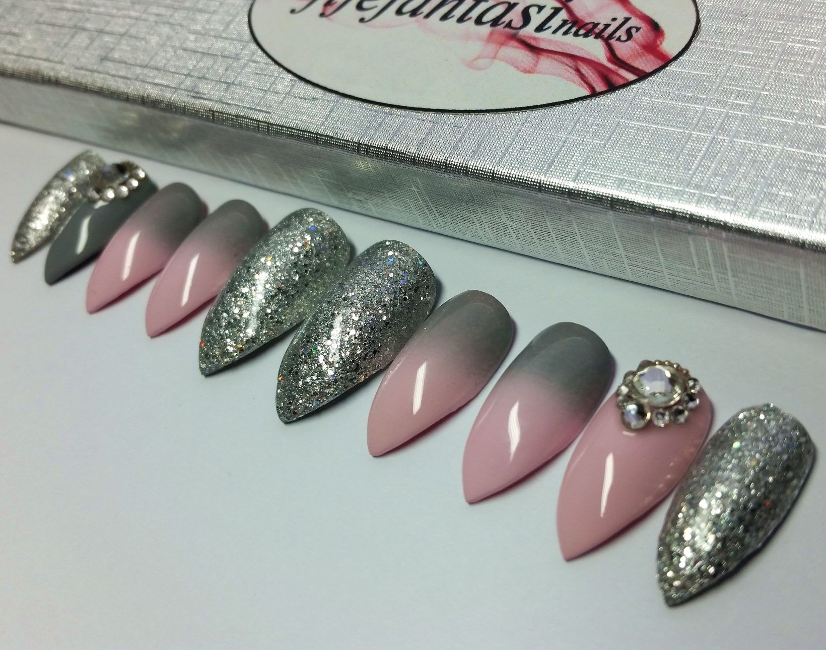 Pink And Grey Ombre With Swarovski Crystals And Silver Glitter Swarovski Nails Black Ombre Nails Press On Nails