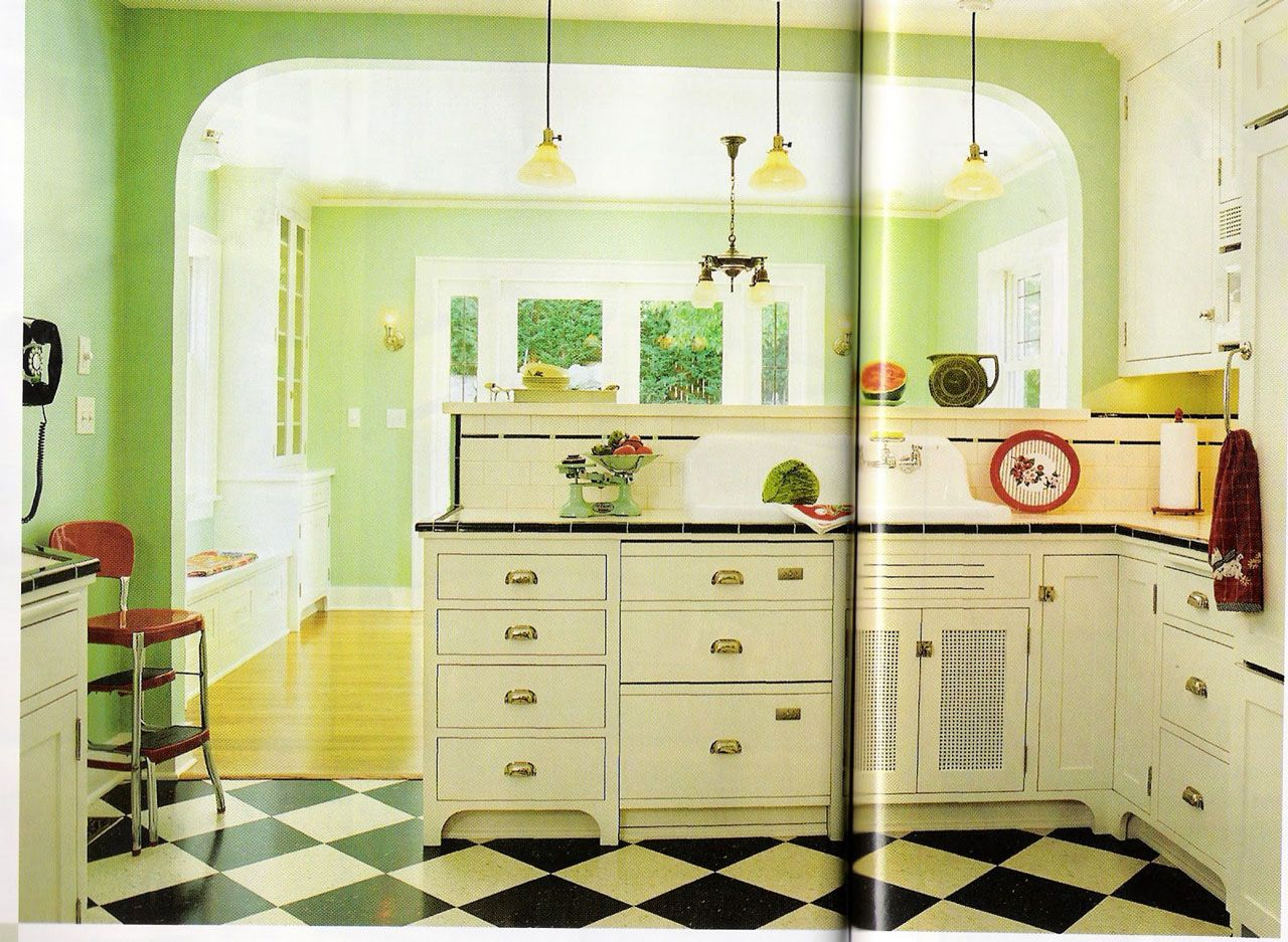 Excellent Retro Green Kitchen Ideas with Black and White Flooring ...