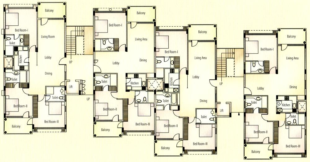 Apartment unit plans apartments typical floor plan for 4 apartment building plans