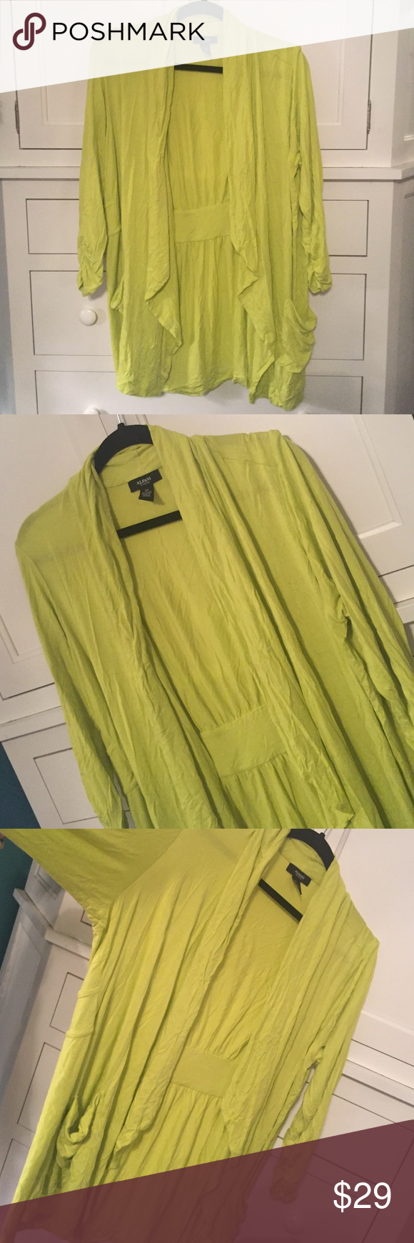 Alfani Neon Cardigan Worn once, great condition, open, drapey front Alfani Sweaters Cardigans