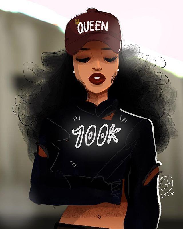 44203b3d93c9d Black Girl Cartoon, Black Girl Art, Black Women Art, Art Girl, Drawings