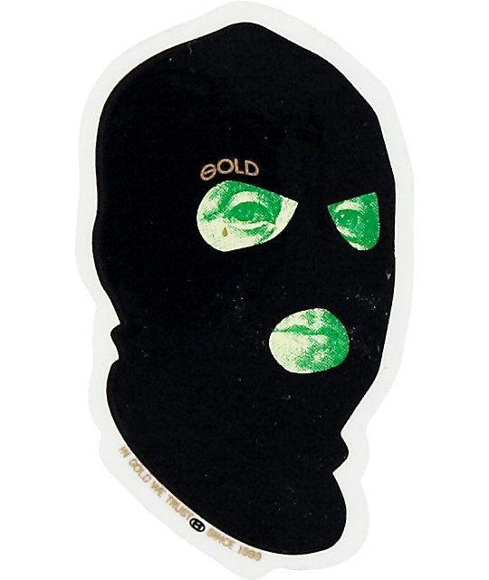 Gold Bad Money Sticker Graffiti Art Ski Mask Tattoo