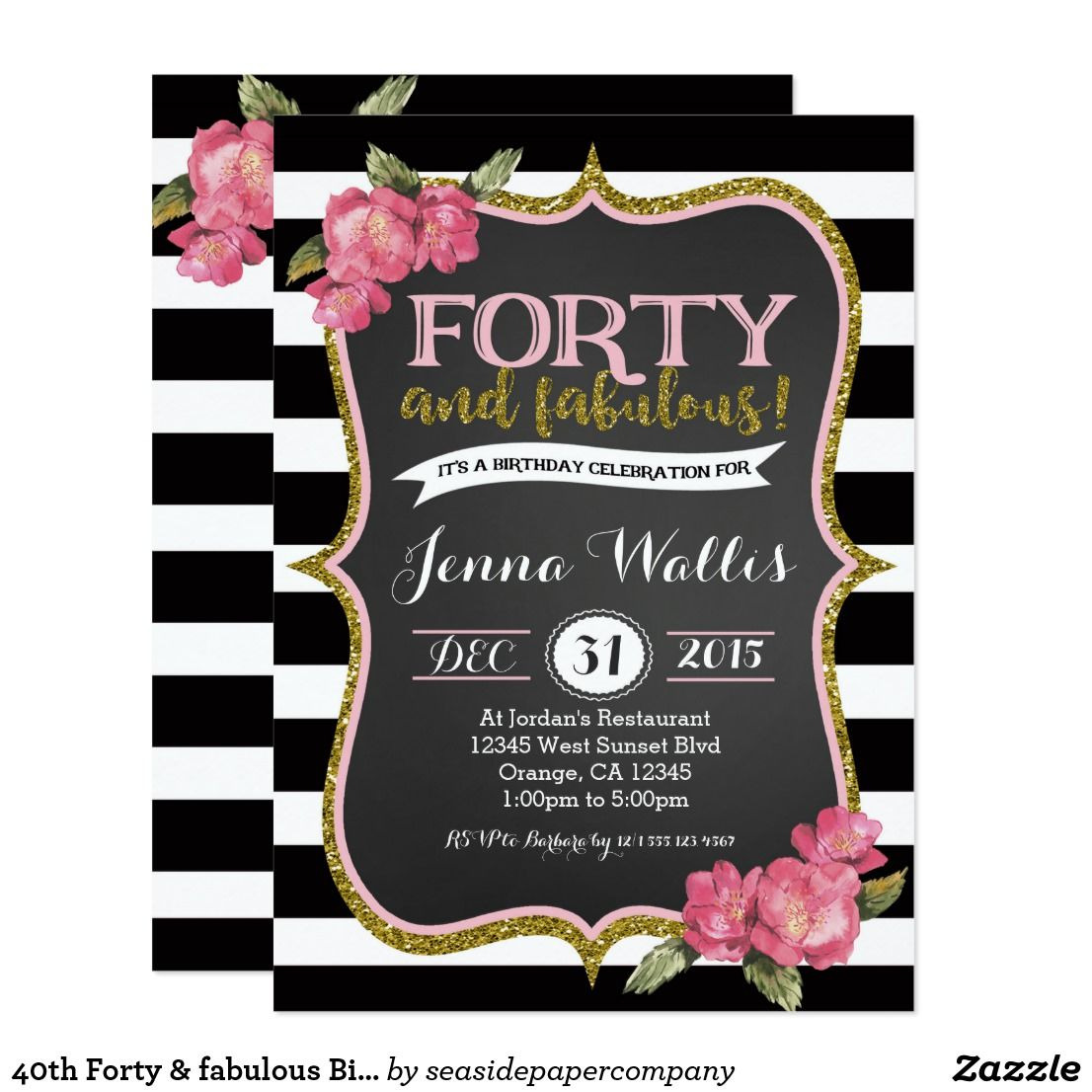 40th Forty & fabulous Birthday Invitation | Birthdays and 40 birthday