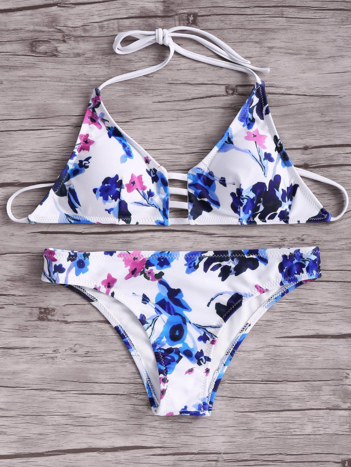 $12.89 Women Floral Halter Bikini Set - WHITE M