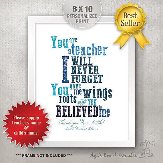 Unique Thank You Card Ideas: 8x10 Personalized Teacher Appreciation Gift Idea / Teacher