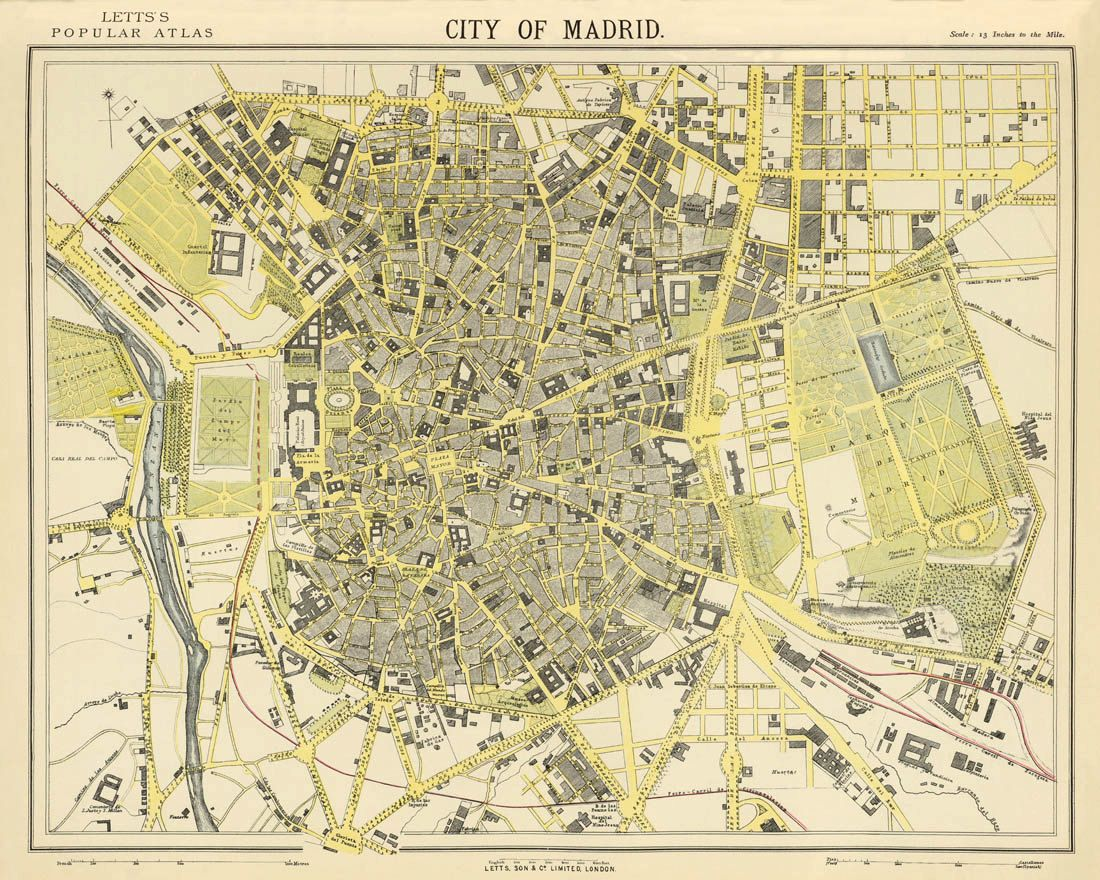 Madrid map - Old map print - City map fine reproduction - Historical