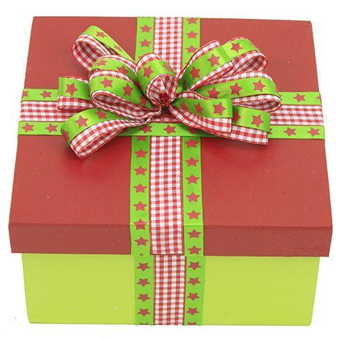 Caja de madera navide a verde y rojo mo o regalo - Cajas de madera para regalo ...