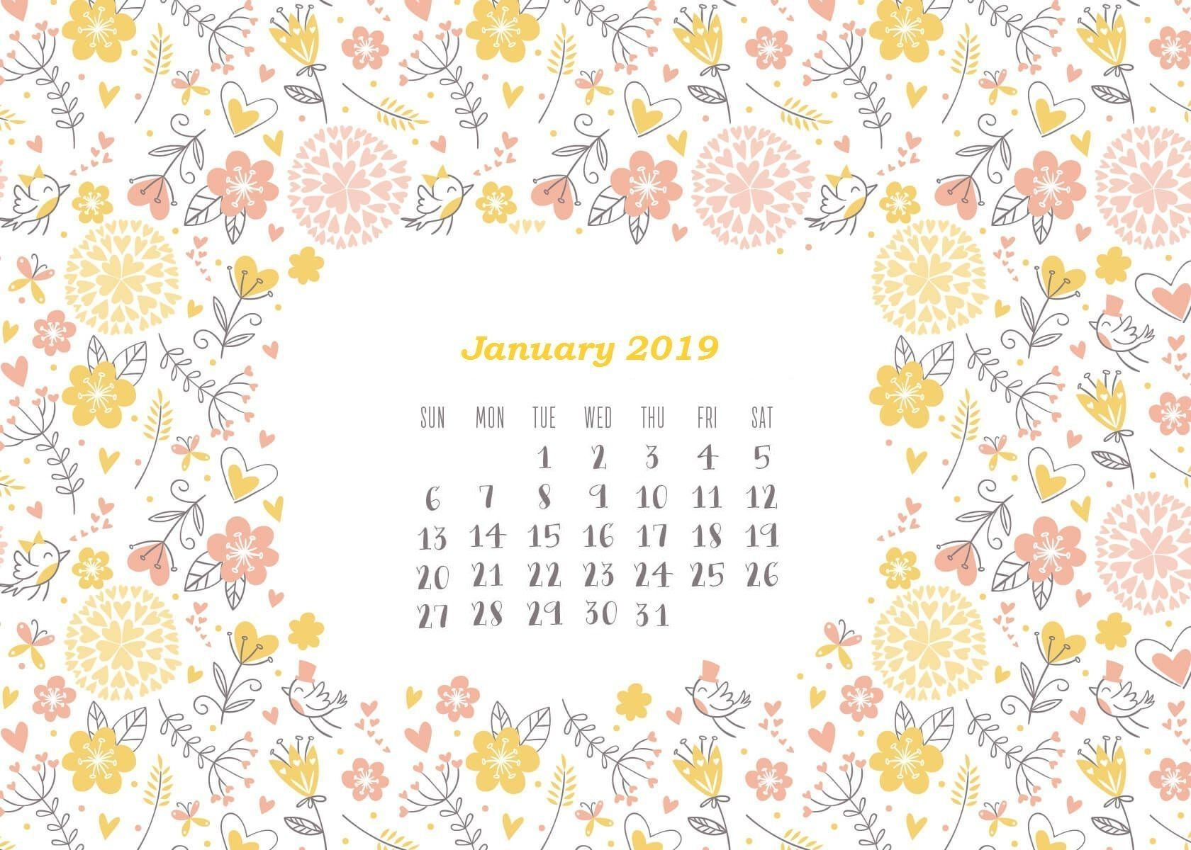 January 2019 Hd Calendar Wallpaper 1 680 1 200 Pixels Intended For Free January 2019 Calendar W Desktop Wallpaper Calendar Calendar Wallpaper Creative Calendar