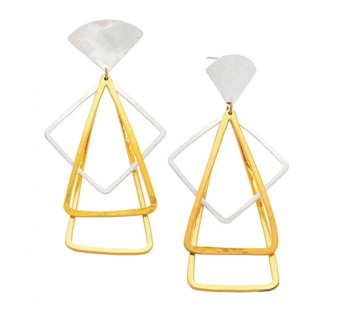 Sibilia Silver And Gold Pendulum Earrings Designer Statement Jewelry