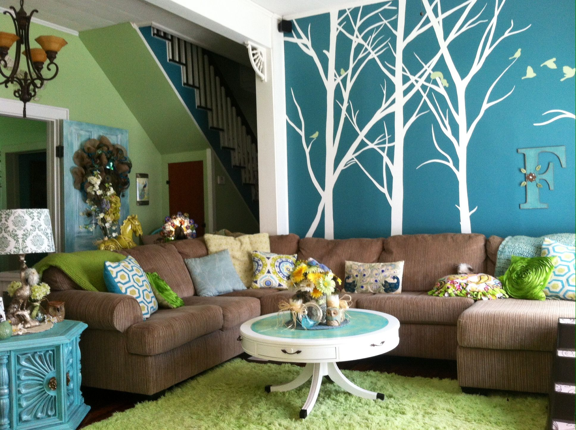 Peacock Inspired Living Area. Valspar Paint Colors Quaking