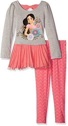 ef5fe8ee413 Disney Little Girls  2 Piece Elena of Avalor Chiffon Tunic and Legging Set