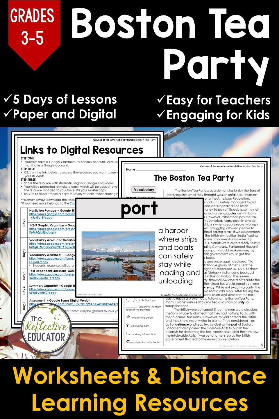 Boston Tea Party for Google Classroom™   Distance Learning   Social studies  worksheets [ 1440 x 960 Pixel ]
