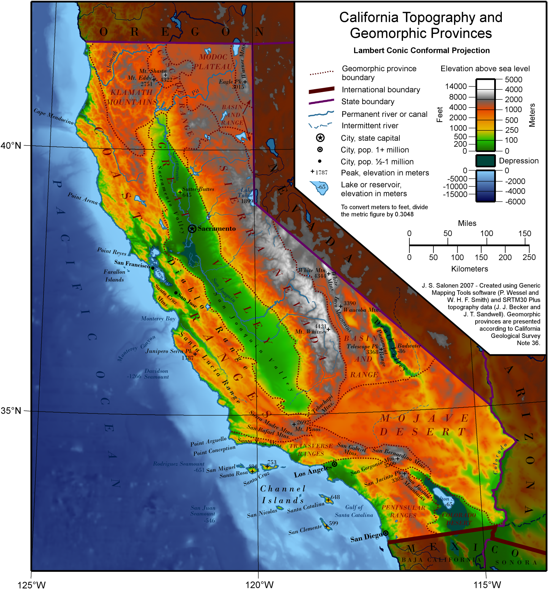 Elevation Map Of California Elevation Map of California | Historical Maps | California map
