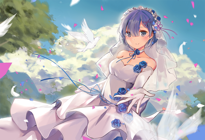 Amazing Rem With Wedding Dress Wallpaper Hd Anime Fanart