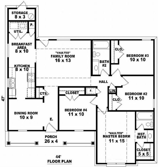 House Plan 053-00361 - Traditional Plan 1,412 Square Feet, 4