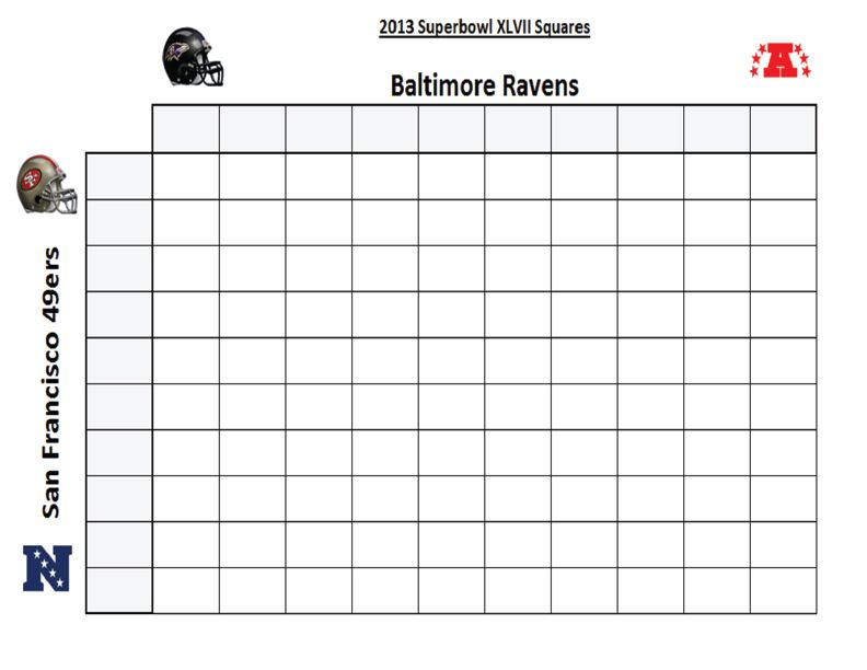 Super Bowl XLVII Squares SUPERBOWL XLVII ARE YOU READY FOR - excel spreadsheet template scheduling