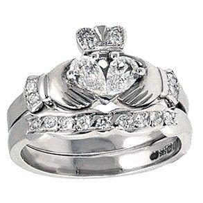 Claddagh Engagement Ring Wedding Band Claddagh Ring Wedding Irish Wedding Rings Celtic Wedding Rings