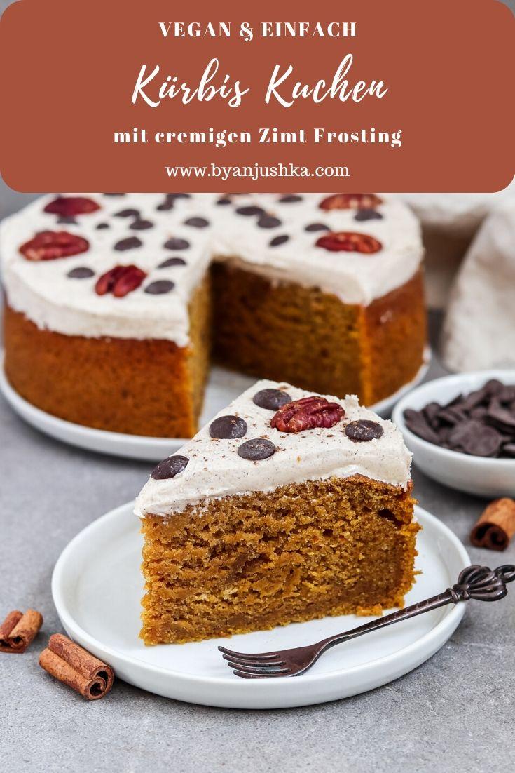 Veganer Kürbis Kuchen mit Zimt Frosting