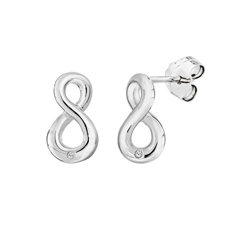 STERLING SILVER INFINITY STUD EARRINGS WITH DIAMONDS