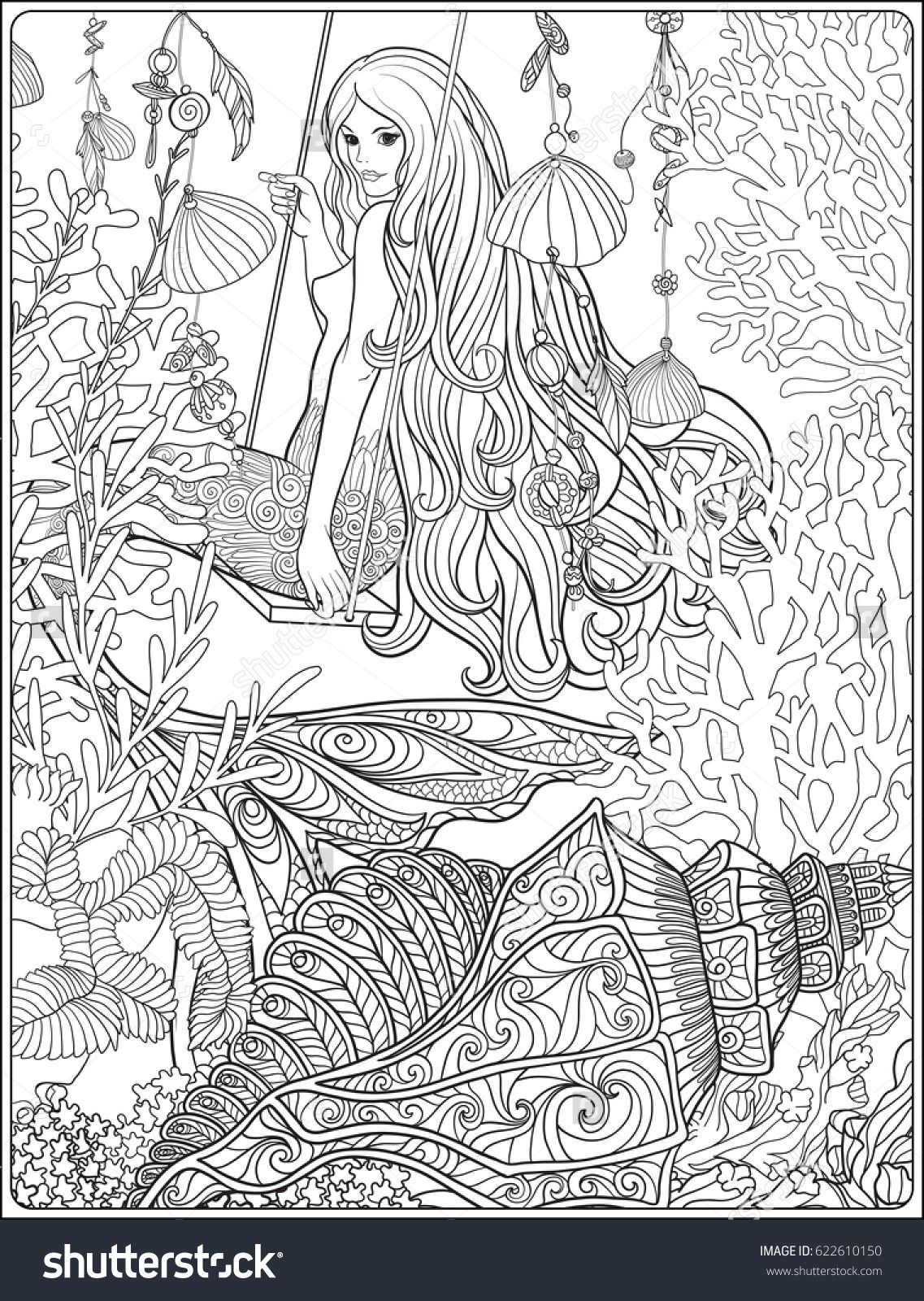 Hand Drawn Mermaid With Long Hair In Underwater World Stock Line