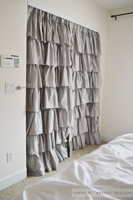 This Ruffled Draped Closet Door Seems To Be Trending. Drapery Panels For Closet  Doors. Hang From Inside! I Love These For Curtains In The Office, ...