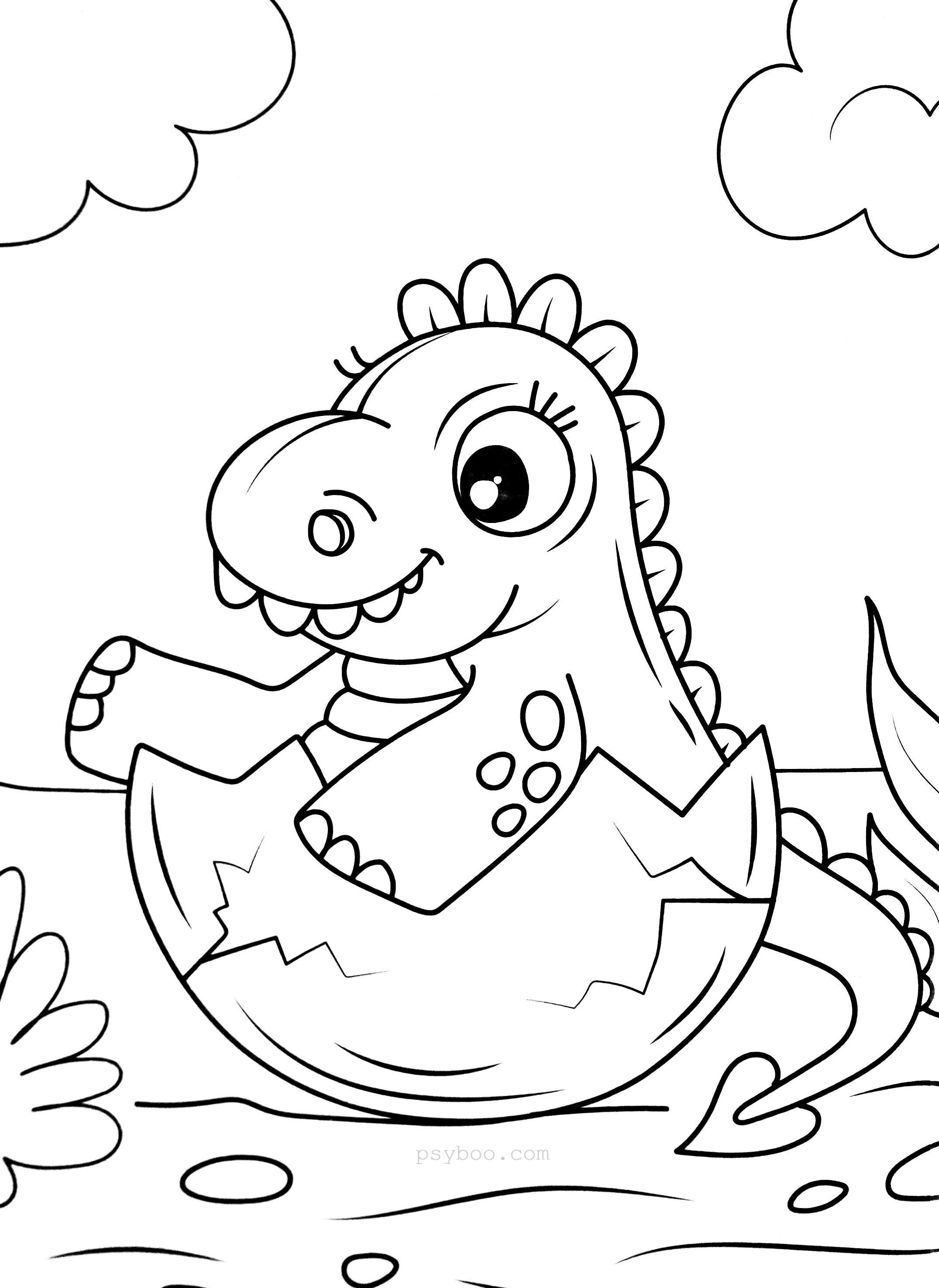 Baby Dinosaur Hatched From An Egg Coloring Page In 2020 Egg
