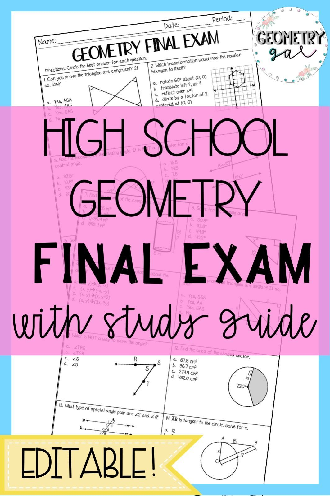 Geometry Final Exam With Study Guide