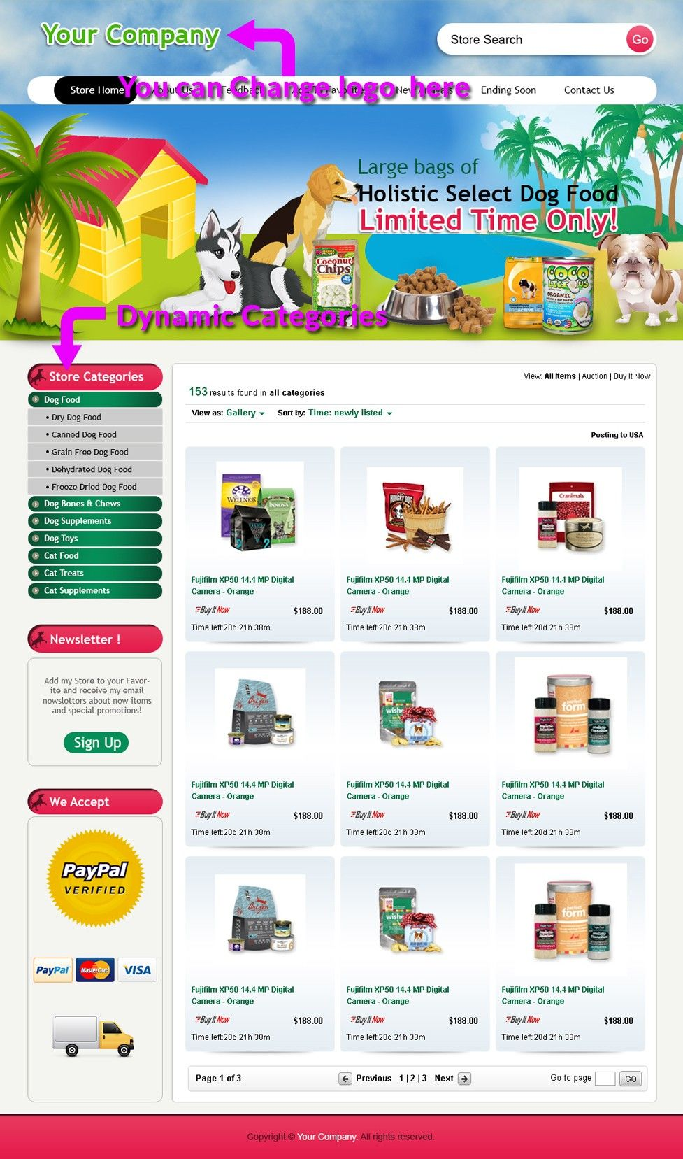 Ebay Store Templates   Dog Food Supply Professional Ebay Store Templates Listings