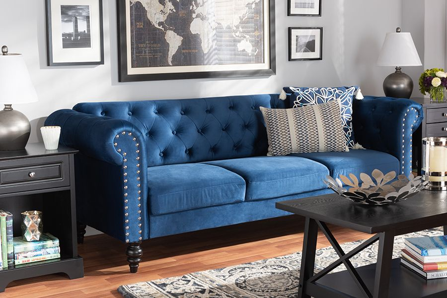 Baxton Studio Emma Traditional And Transitional Navy Blue Velvet Fabric Upholstered And Button Tufted Chesterfield Sofa Wholesale Interiors Emma Navy Blue Vel In 2020 Velvet Sofa Living Room Blue Sofas Living