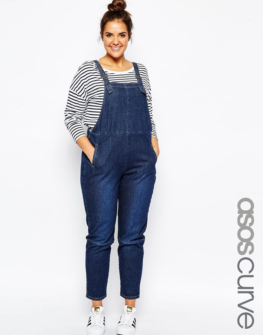 ASOS+CURVE+90's+Dungaree+in+Midwash
