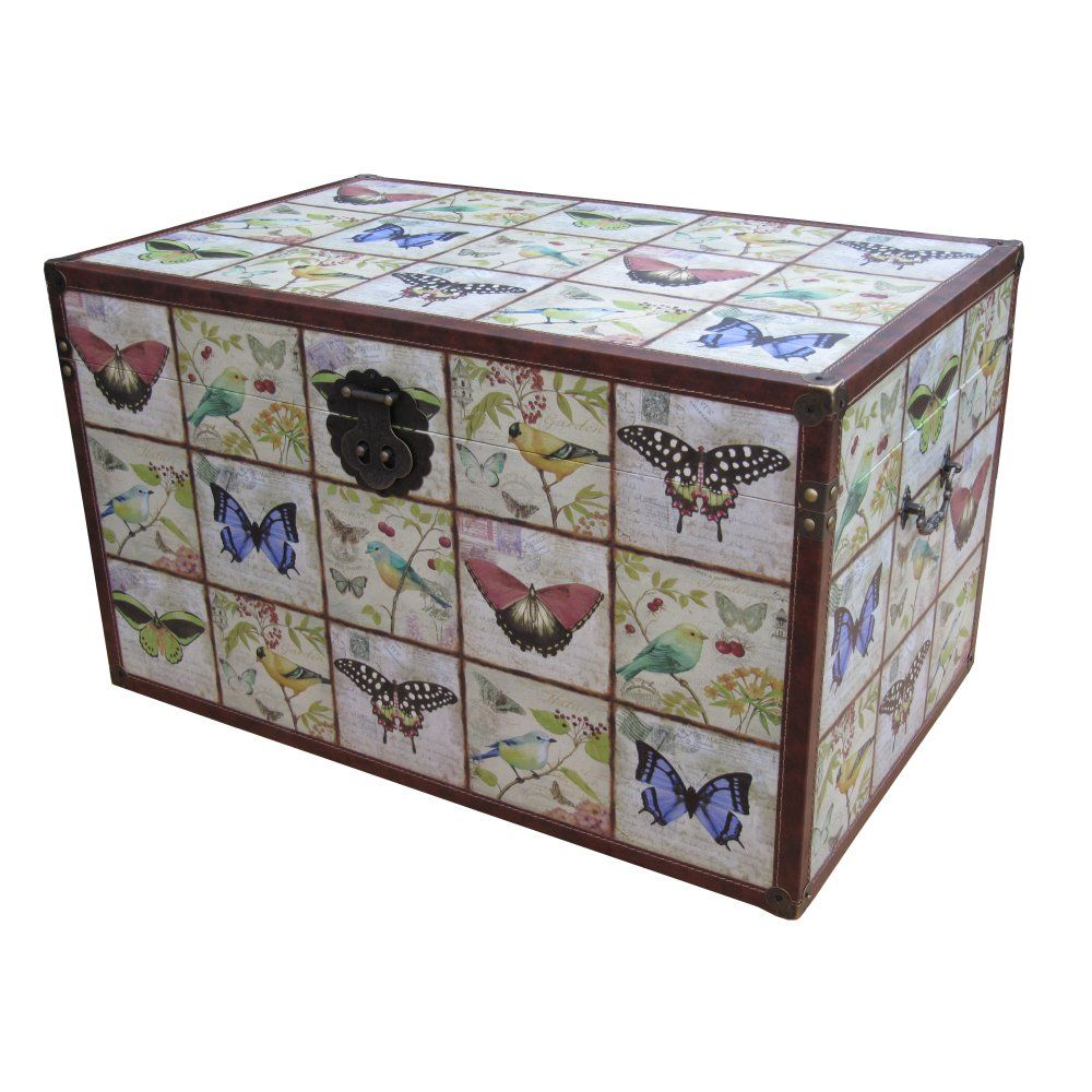 Wooden Vintage Style Storage Trunk | Butterfly U0026 Bird Design