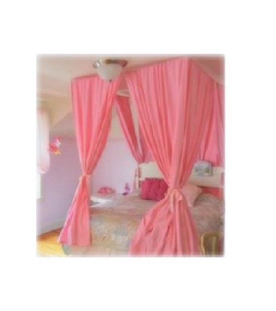DIY Bed Canopy Kit   Custom Shabby Ceiling Suspended Hanging Four Poster Bed  Wire Curtain Rod Chic Privacy Bedroom Decor Princess Crown Tent