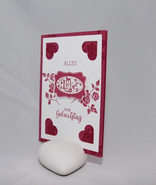 Geburtstag - Geburtstagskarte Rosenrot - ein Designerstück von StempelLeo bei…