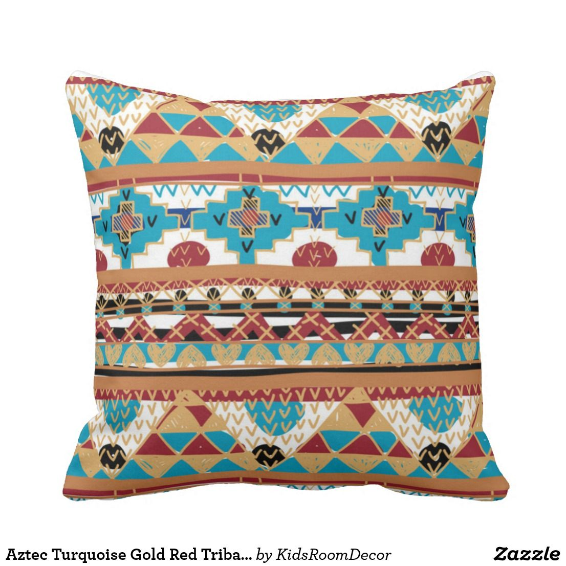 Aztec Turquoise Gold Red Tribal Pattern Throw Pillow Designer Pillows Patterns