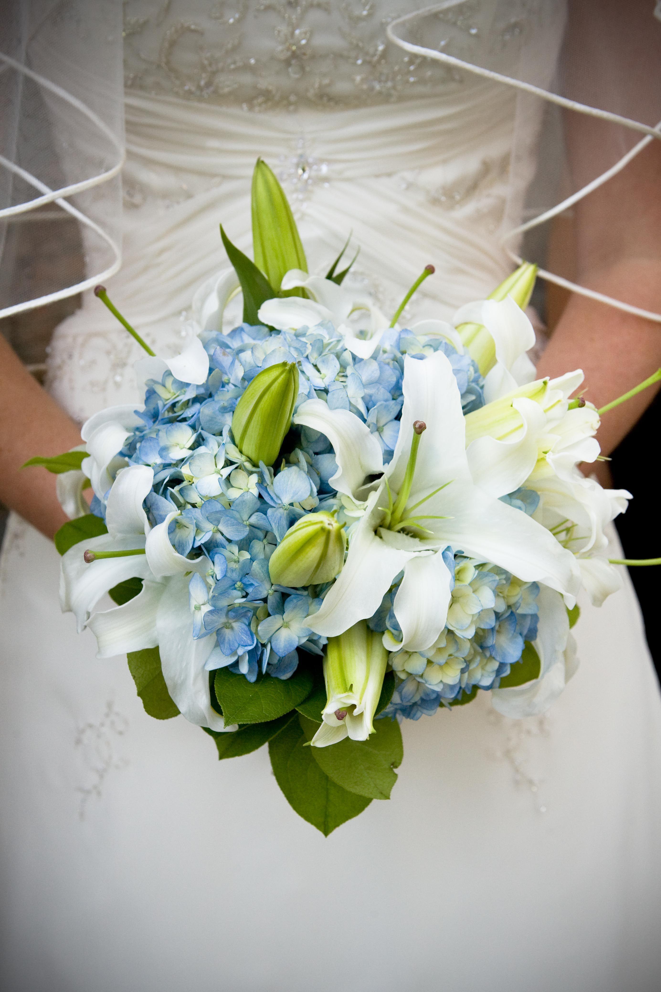 Blue Hydrangea And Oriental Lily Bride Hydrangeas Wedding Hydrangea Bouquet Wedding Blue Hydrangea Bouquet