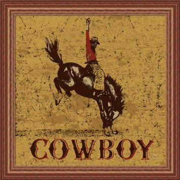 Rodeo Cowboy By Peter Horjus Western Sign Wall Art Print Framed Décor Home Kitchen Rodeo Poster Cowboy Posters Cowboy Art