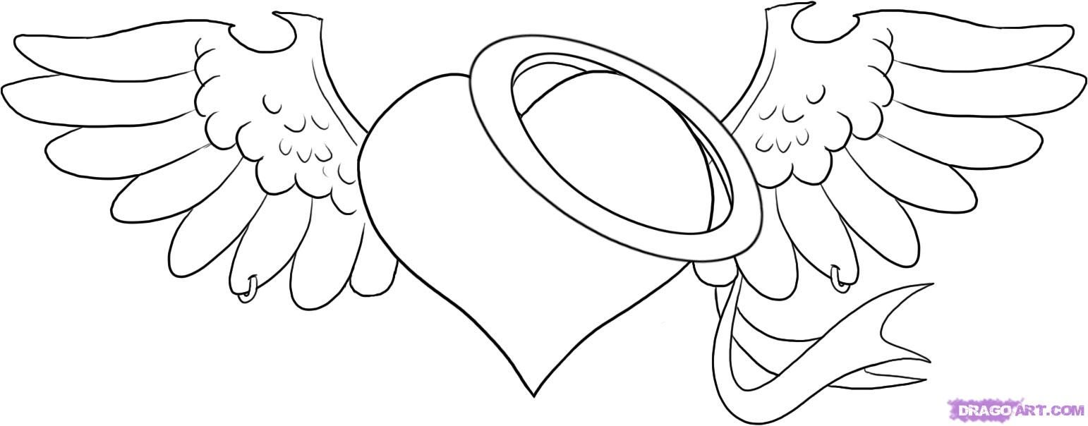 Angel Heart Heart Coloring Pages Sharpie Drawings Free Coloring Pages