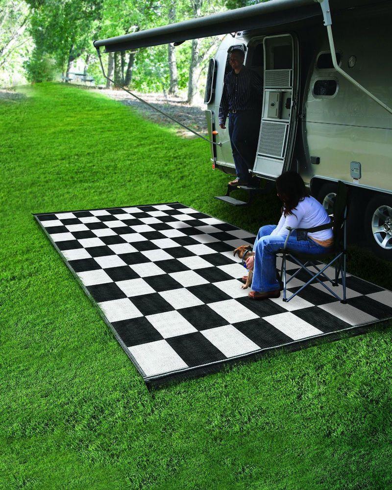 Camping Reversible Outdoor Mat Rv Trailer Patio White Black Checkered 9 X 12 Rug