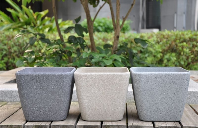 Eden 28cm Grey Sandstone Finish Square Plastic Planter #pot #sandstone  #beige #grey