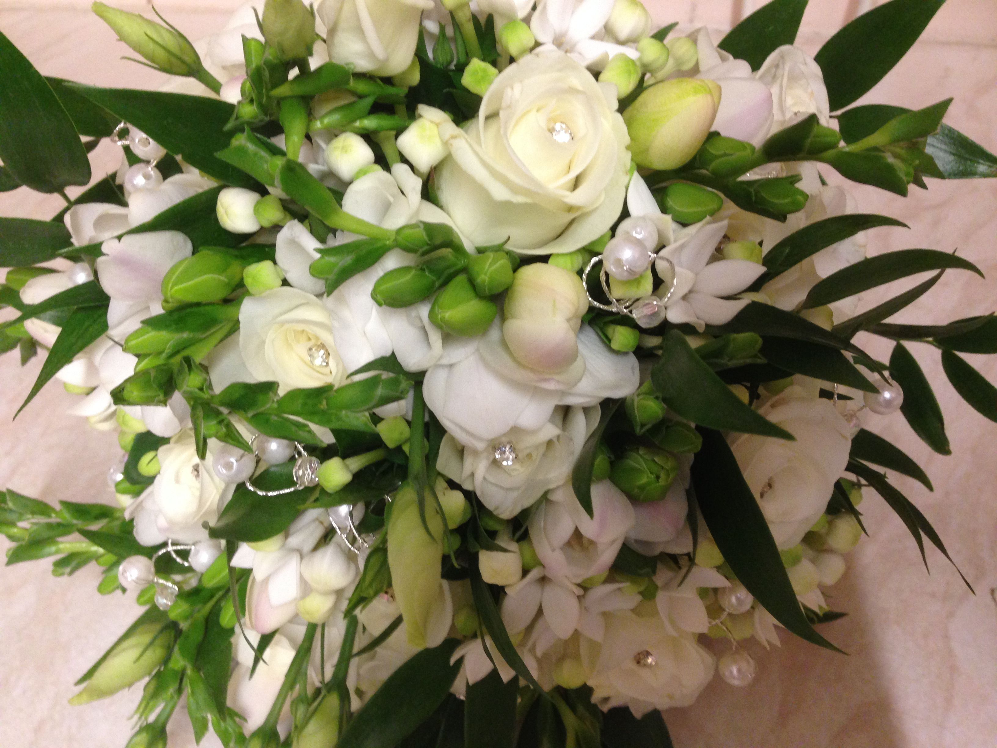 Classic White Roses And Freesia In A Simple Handtied Posy Am