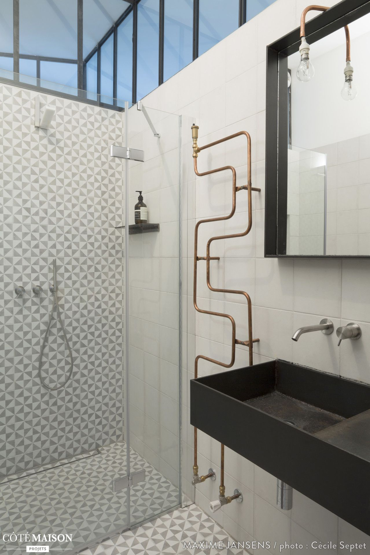 aménagement d'un loft paris 10ème, maxime jansens architecte ... - Salle De Bain Style Loft